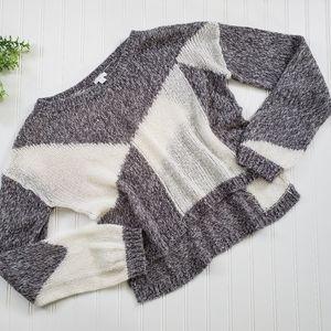 BP Gray Cream Crop High Low Color Block Sweater Lg